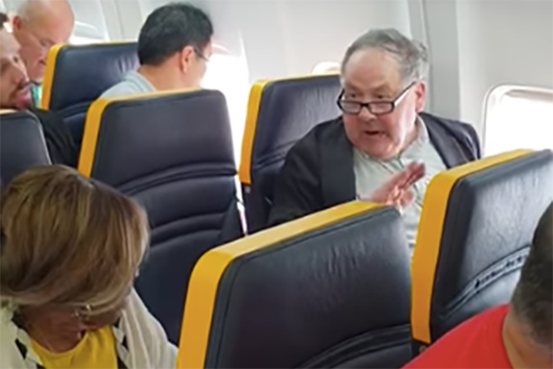 A passenger, right, launched into a racist tirade against pensioner Deslie Gayle on a Ryanair flight (photo via David Lawrence on Facebook)