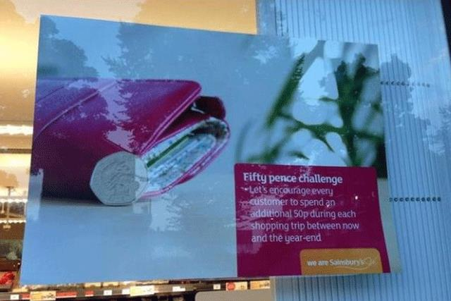 The '50p challenge': Chris Dodd tweeted this picture to the embarrassment of Sainsbury's