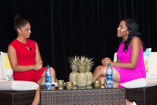 Soledad O'Brien (l) interviews Lauren Wesley Wilson at ColorComm Conference