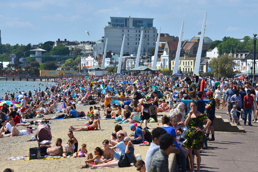Brits flocked to the beach at Southend-on-Sea over the May bank holiday weekend. Photo: Getty Images.