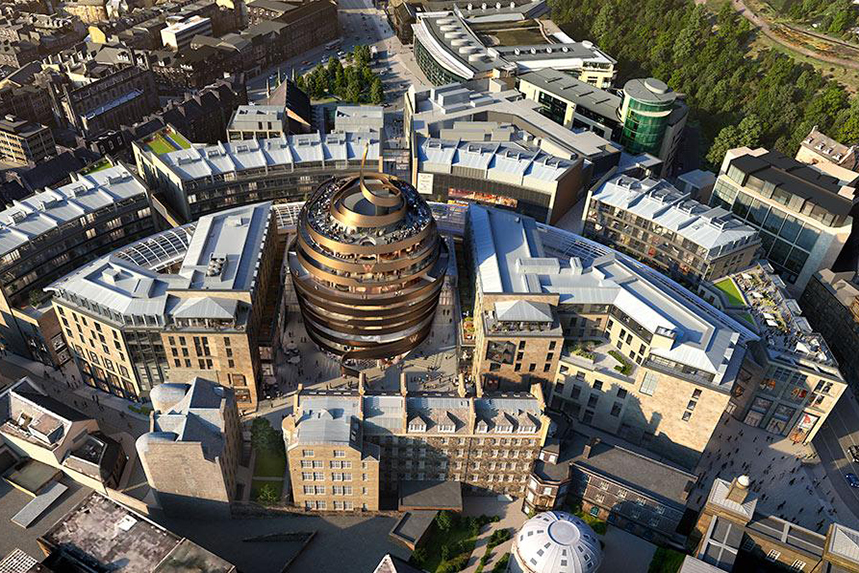 A rendered aerial view of St James Quarter, with the W Edinburgh hotel at the heart of the development
