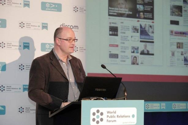 Steve Barrett speaks at the World Public Relations Forum in Madrid.