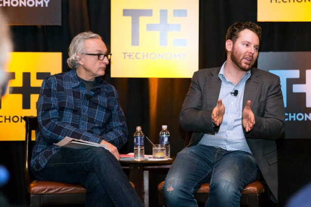 From left to right: CEO David Kirkpatrick with Sean Parker, former Facebook president