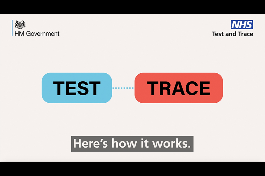 The government and NHS campaign is designed to educate the public about 'test and trace'
