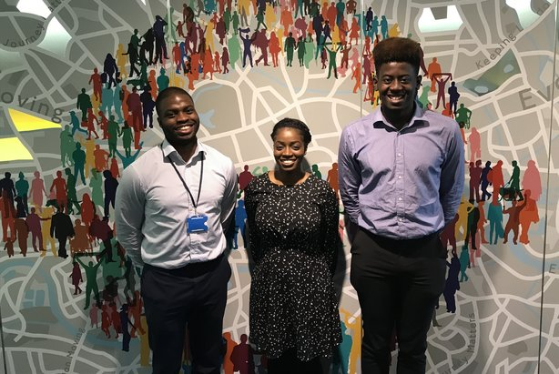 Three alumni of the BAME internship scheme who went on to work for TfL: (L-R) Joshua Burrell, Sylvia Mannah and Tuminu Onagoruwa