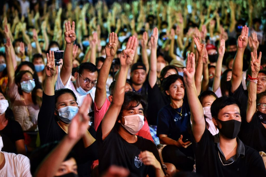 Protesters during a pro-democracy rally at Thammasat University in Bangkok (Getty Images)