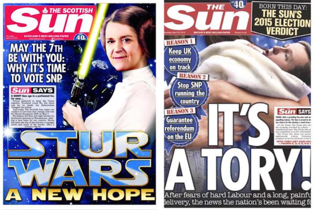 The Sun: Supporting SNP in Scotland & The Tories in England