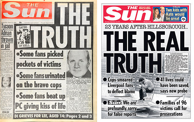 The Sun, then and now, on Hillsborough