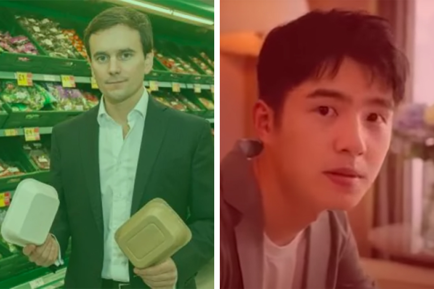 (L-R) Iceland's Richard Walker displays plastic-free packaging; Chinese actor Liu Haoran takes John Boyega's role in a Jo Malone ad