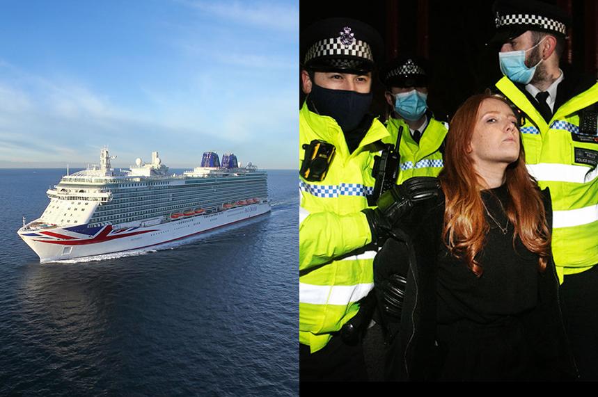 (Cruise ship photo via P&O website; Sarah Everard vigil photo ©GettyImages)