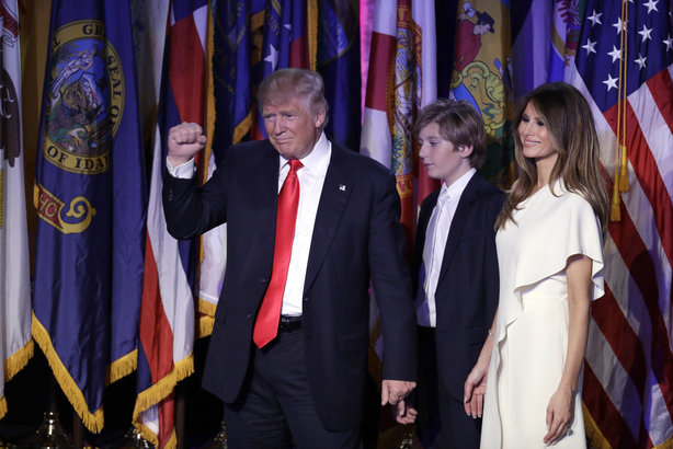 Donald Trump, US President-elect, takes to the stage for a victory speech this morning (pic credit: AP Photo/John Locher)