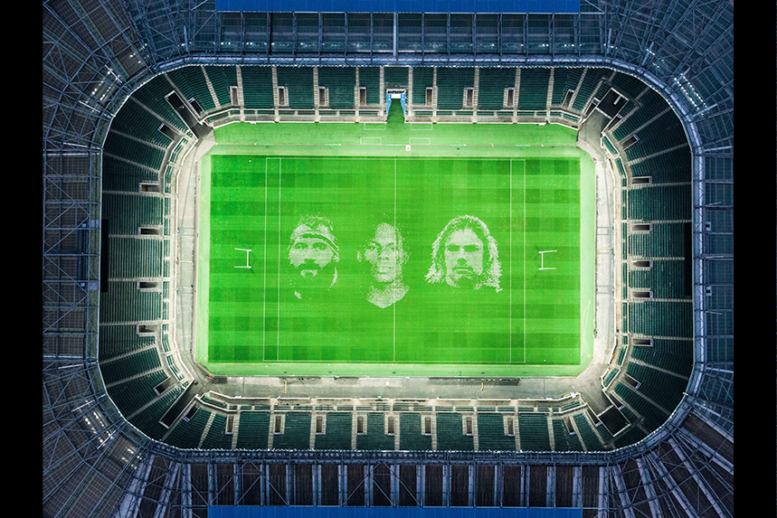 Giant images of rugby stars adorn the hallowed turf of Twickenham to mark the restart of the Gallagher Premiership