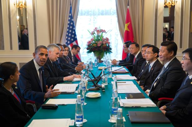 President Barack Obama, with China's President Xi Jinping, delivers remarks prior to participating in their bilateral meeting at the G20 Summit, Sept. 6, 2013 in St. Petersburg, Russia. (Official White House Photo by Lawrence Jackson)