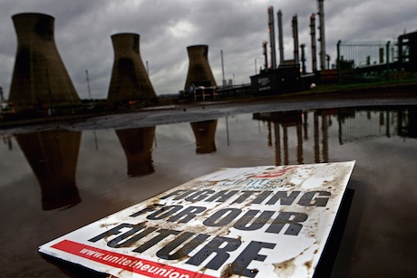Dispute: A Unite placard at the Grangemouth complex last week (Getty Images)