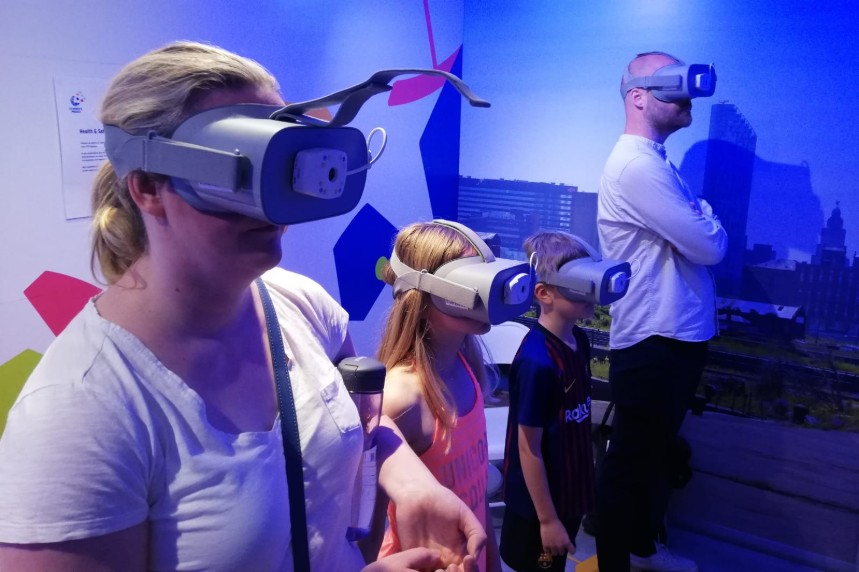 Residents and fans take a virtual tour of the stadium
