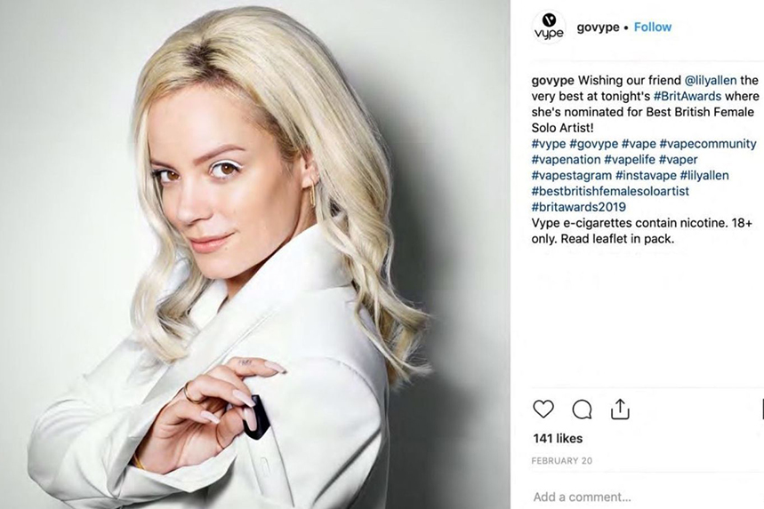 A Vype Instagram post featuring Lily Allen is among the content banned by the ASA