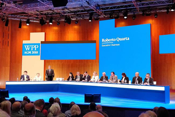 WPP chairman Roberto Quarta addresses shareholders at yesterday's AGM