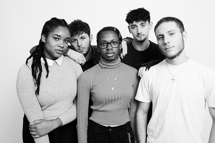 The first intake: Maya Egbo, Lucas Green, Caroline Akintunde, Jay Young and Adam Savva