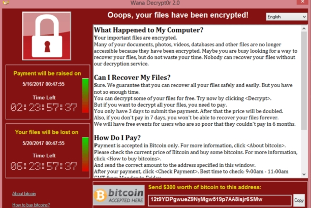 WannaCry. Image taken from WikiCommons. This file is ineligible for copyright and therefore in the public domain because it consists entirely of information that is common property and contains no original authorship. Cropped. Resized.