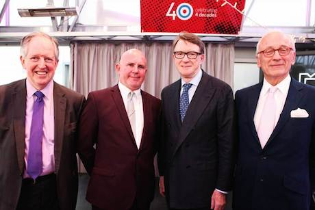 Colin Byrne (second left) with former bosses (l-r) Lord McNally, Lord Mandelson and Lord Chadlington