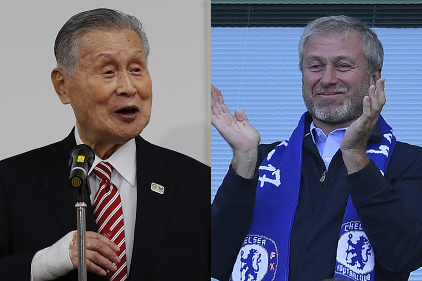 Tokyo Olympics chief Yoshiro Mori and Chelsea FC owner Roman Abramovich. Photos: Getty Images