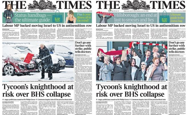 The omission of the Hillsborough verdict in the first edition (left) did not go unnoticed - and was quickly amended (right)