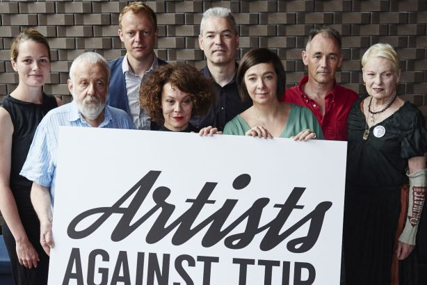 Campaigners include Mark Rylance and Vivienne Westwood (far right)