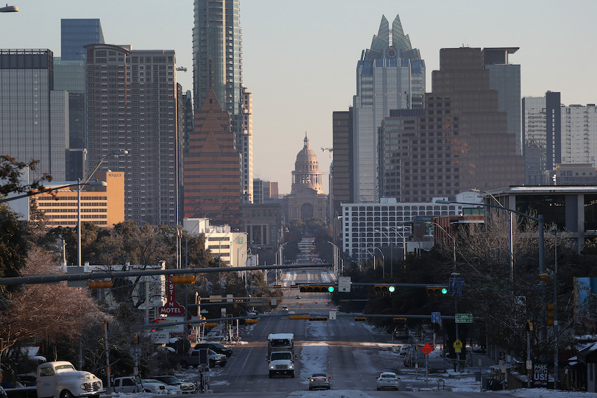Austin was one of the cities in Texas facing unusual winter storms this week. (Photo credit: Getty Images).