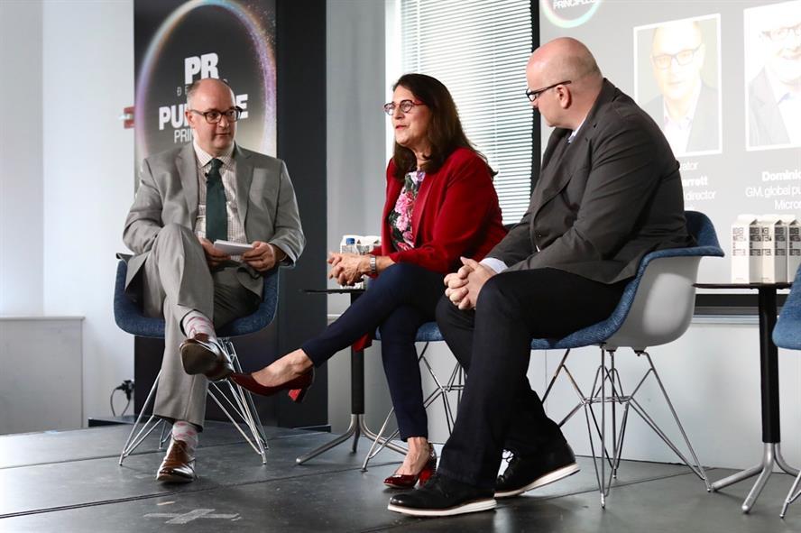 L-R: PRWeek's Steve Barrett, We's Melissa Waggener Zorkin, Microsoft's Dominic Carr