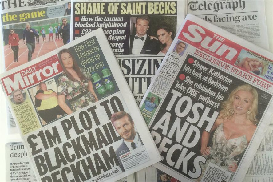 Scandal: Beckham email story received substantial coverage in Monday's newspapers