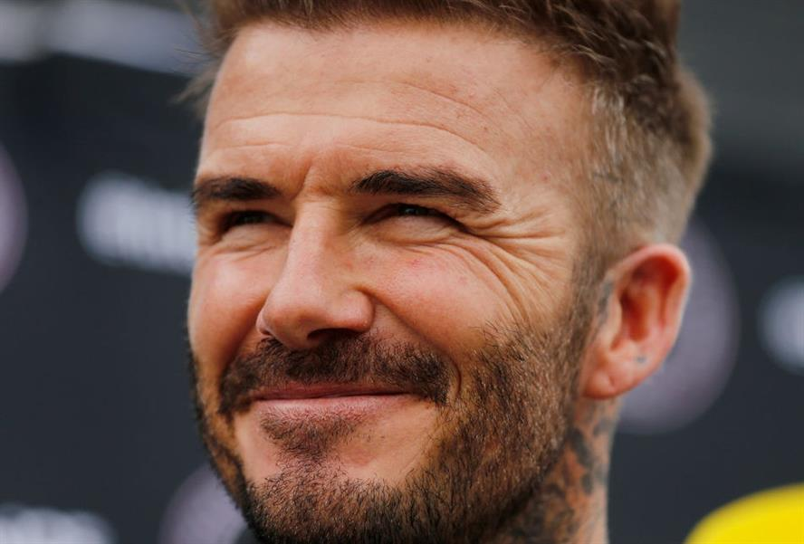 David Beckham addressing the media on 25 February 2020 ahead of his club Inter Miami CF's inaugural match against LAFC (Photo by Michael Reaves via Getty Images)