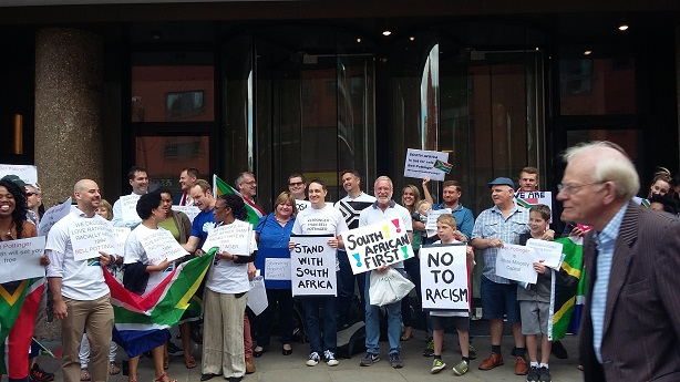 A protest outside Bell Pottinger's London office this summer
