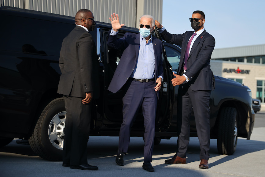 Democratic presidential nominee Joe Biden campaigns in Pennsylvania on Monday. (Photo credit: Getty Images)