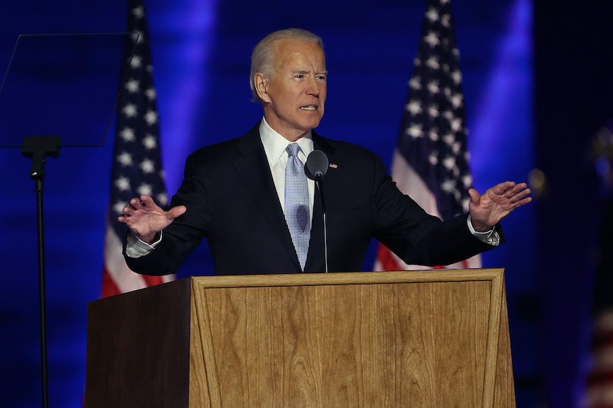 President-elect Joe Biden addressed supporters and the nation on Saturday night. (Photo credit: Getty Images).