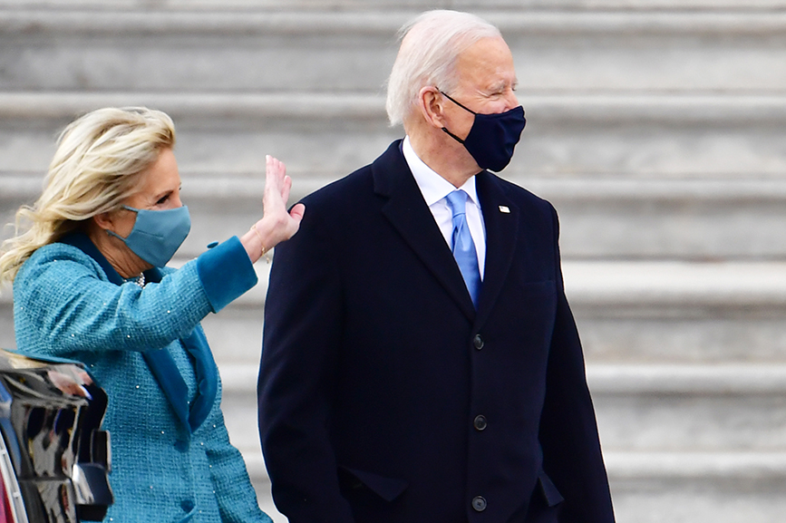 U.S. President United States Joe Biden and first lady Jill Biden exit the east steps of the U.S. Capitol after the 59th Presidential Inauguration. (Photo by David Tulis - Pool/Getty Images)