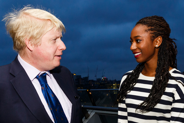 Boris Johnson with Adaeze Uyanwah, the winner of the Official Guest of Honour campaign