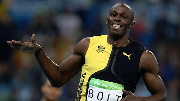 Usain Bolt cruised to victory in the men's 100 meter for the third straight Olympics. (Image via Bolt's Facebook page).