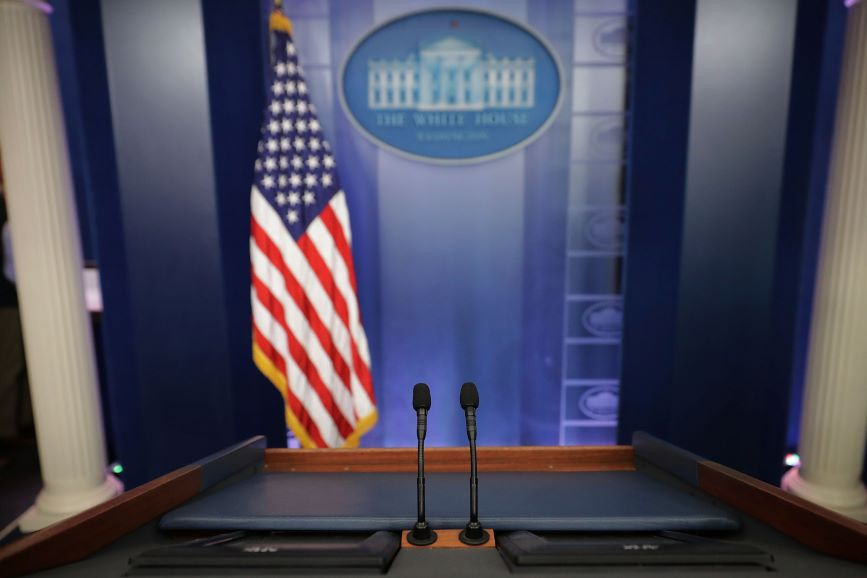 The White House press briefing room hasn't seen much action over the past year. (Photo credit: Getty Images.)