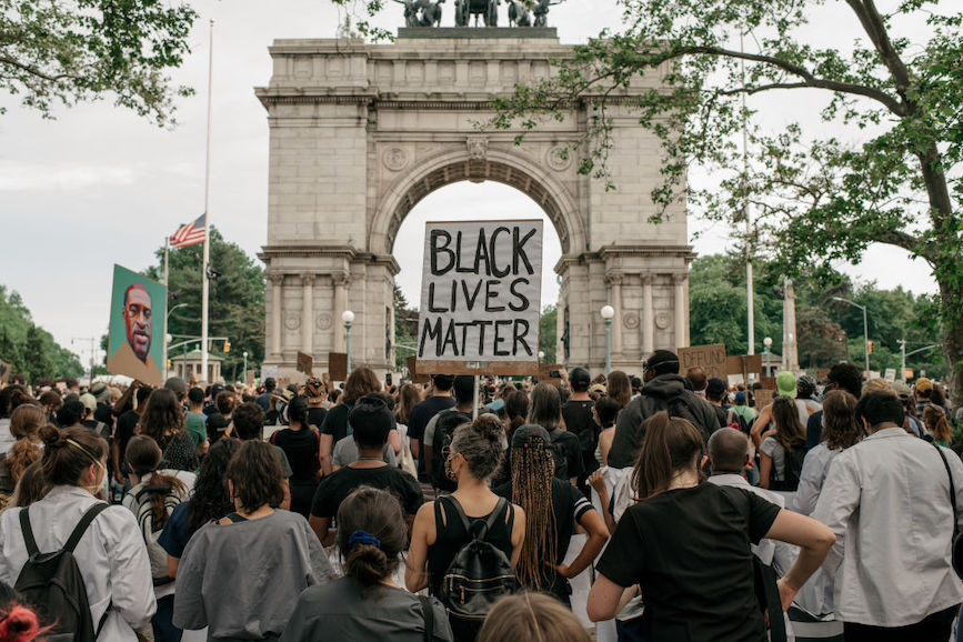 Demonstrators in Brooklyn call for legislation to increase police accountability. (Photo credit: Getty Images)