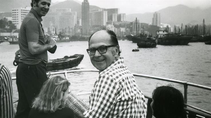 Harold Burson celebrating the 1973 opening of Burson Marsteller's Hong Kong office.