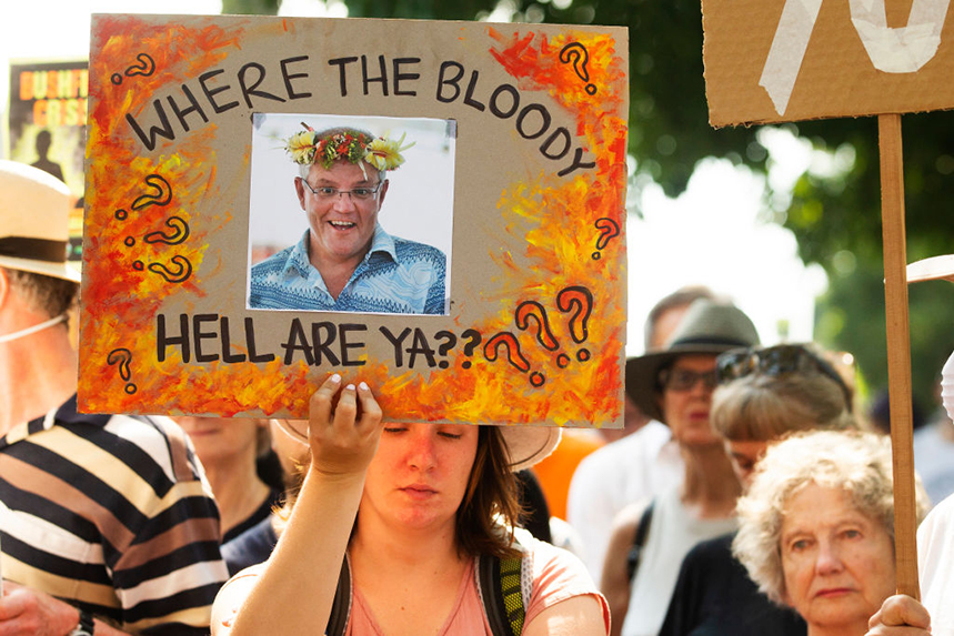 Australians have protested against PM Scott Morrison's response to the bushfires crisis. Photos: Getty Images