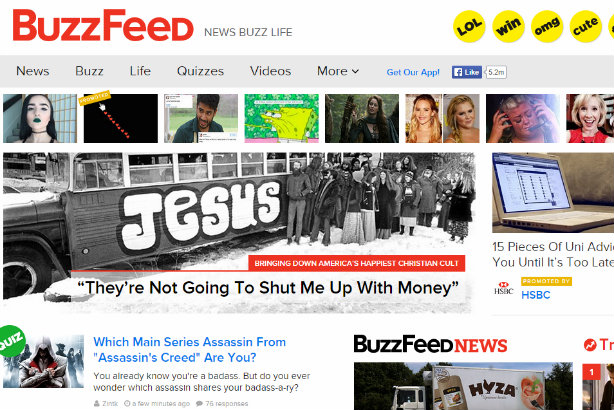 WPP deal: The US homepage of BuzzFeed this morning