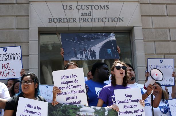 A protest outside Customs and Border Protection offices last month. (Photo credit: Getty Images)