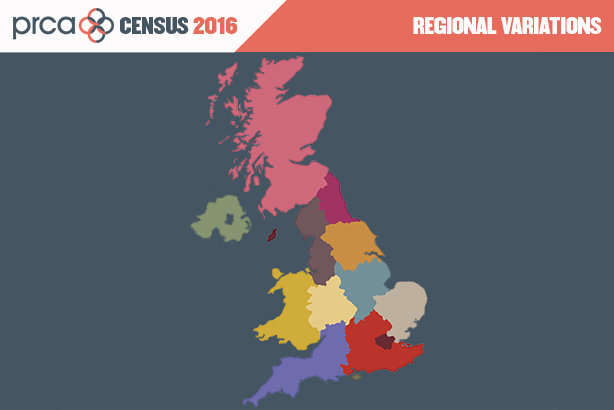 The regions show big variations in pay, background and average age, according to the census