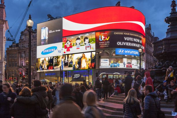 Clear Channel: Billboards on display in London's Piccadilly Circus