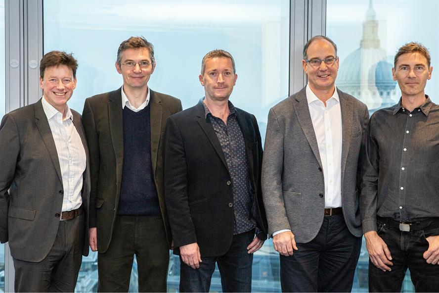 New deal: (left to right) Avenir Global's Ralph Sutton with, from Cherry, director Richard Cowhig, creative director Phil Stockdale, MD John Goundry, and client services director Rupert Whitehead