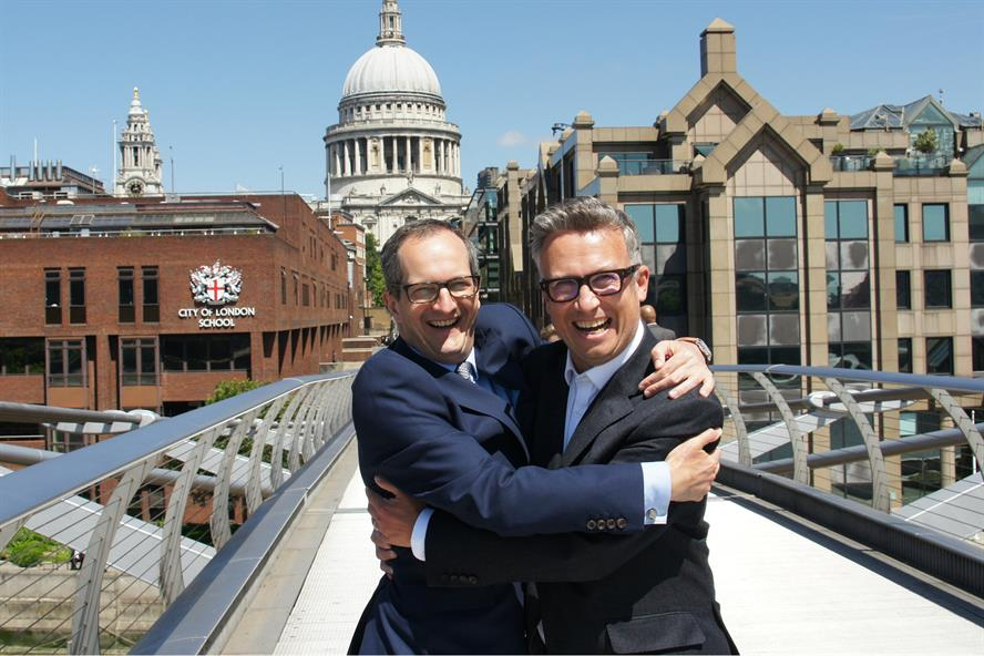 Embracing union: Westbourne's James Bethell (left) with Iain Anderson of Cicero