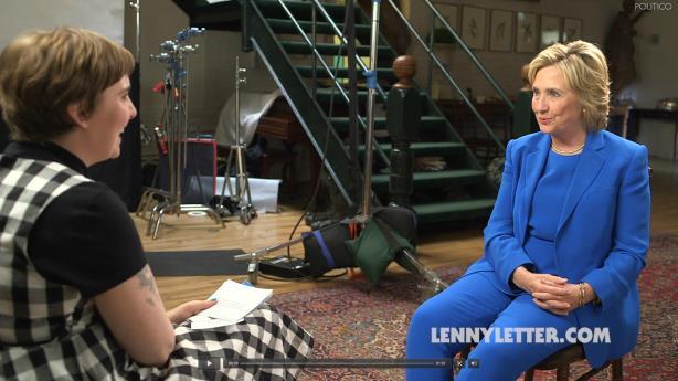 Lena Dunham interviews HIllary Clinton. (Image via Politico.com).