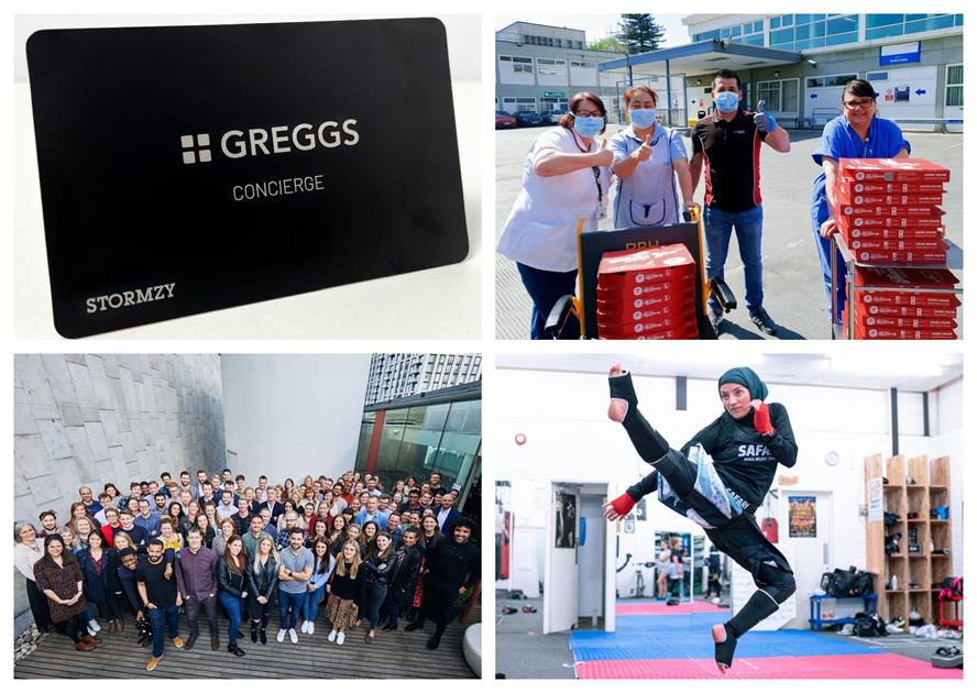 Winning campaigns (clockwise from top left): 'Greggs x Stormzy – Original VIP'; 'Pizza Hut – Delivering for Britain'; and 'Lucozade Sport – The Movers List'. Bottom left is Brands2Life, Large Consultancy of the Year