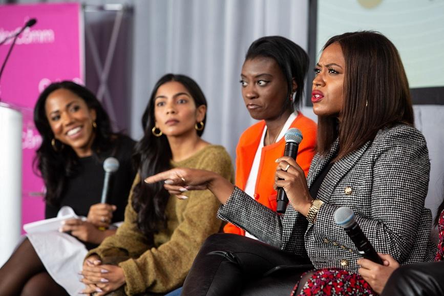 From the left; Lauren Wesley Wilson, ColorComm; Zara Rahim, The Wing; Nikki Ogunnaike, GQ;  Alencia Johnson, Warren for President
